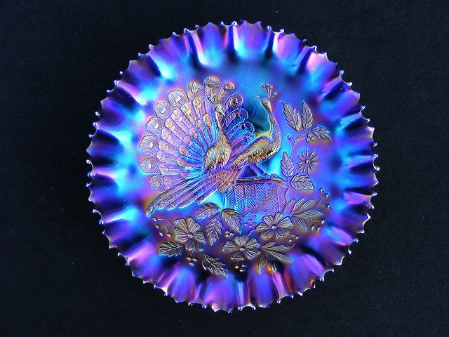 """Northwood electric blue carnival glass bowl, Peacocks on the Fence"""" with pie…"""