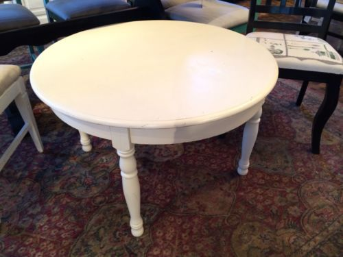 Vintage Shabby Chic Painted Off White Round Coffee Table Ebay Decorate My Home Pinterest