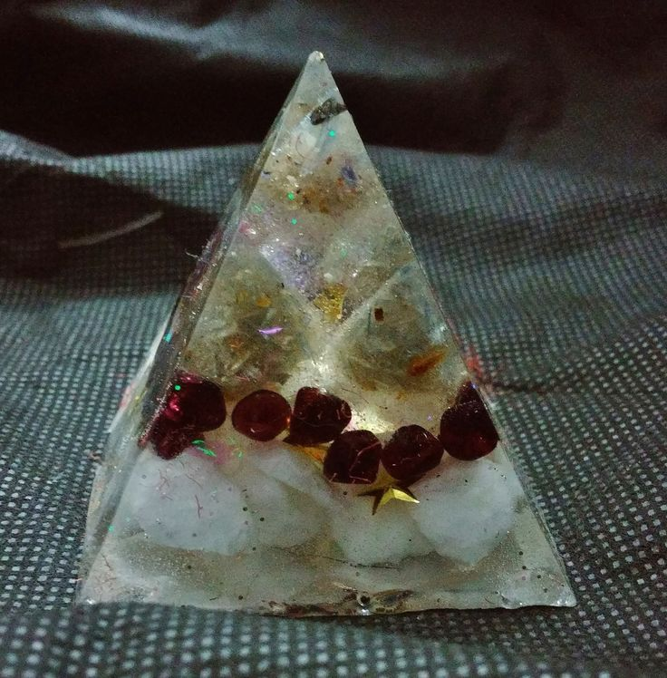 Kyanite, Garnet and Quartz Rock Piezoelectric Pyramid by KomacFineArt on Etsy