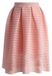 Glam Stripes Cutout Midi Skirt in Peach