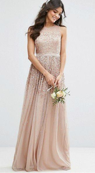 Amelia Rose Neutral Sequin Gown | ASOS | affiliate