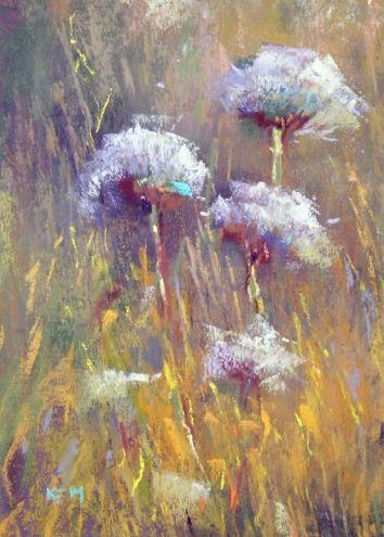 Dandelions Plein Air Pastel 5x7, original painting by artist Karen Margulis | DailyPainters.com