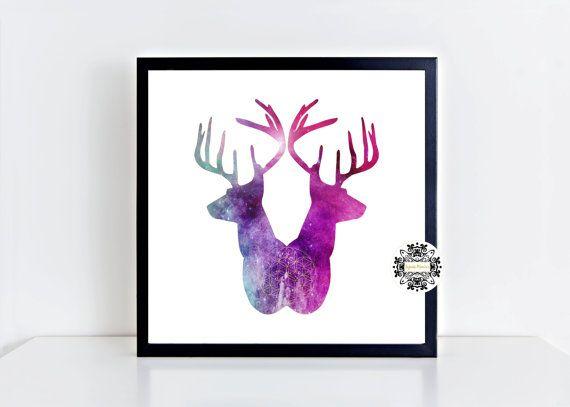 Deer print, Antler print,, Wall art, Wall print, Printed art, Deer silhouette, Deer Watercolor Print, Animals prints, Antler art