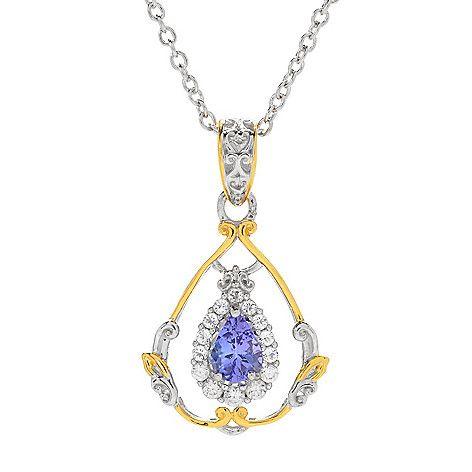 161-005 - Gems en Vogue 1.04ctw Pear Shaped Tanzanite & White Zircon Halo Pendant