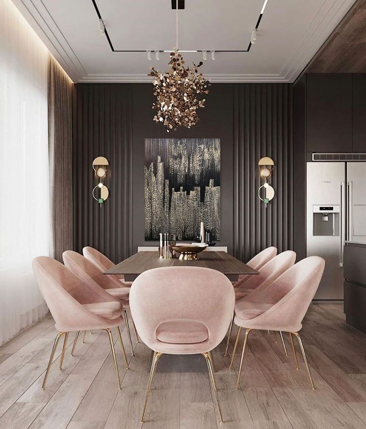 Gold Art Modern Abstract Black Painting On Canvas Huge Gold Painting Original Canvas Large Deco Luxury Dining Room Dining Room Design Modern Modern Dining Room Interior design modern dining room