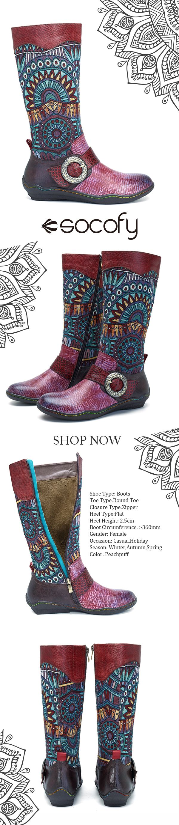 US$74.31 SOCOFY Bohemian Splicing Snake Pattern Buckle Flat Leather Knee Boots