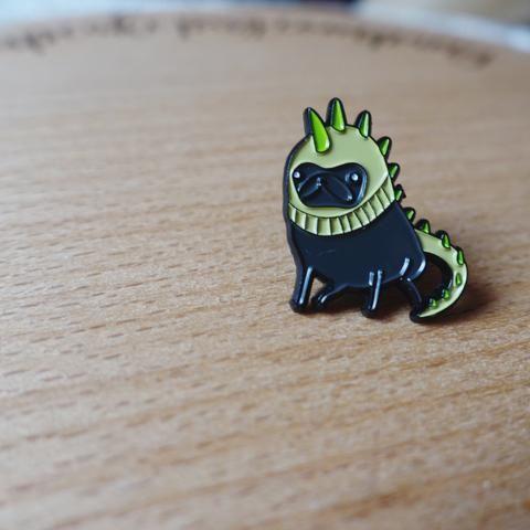 "'Pugosaurus Rex' petite enamel pin by Sophie Corrigan for ""Pugs In Fancy Dress"" series."