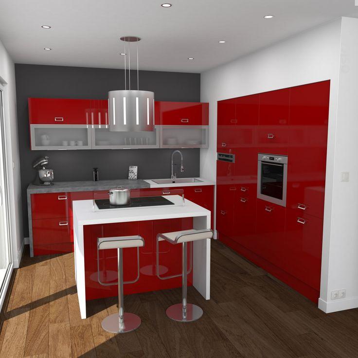 Cuisine Rouge Brillante Ouverte Implantation En L Avec Ilot Central Plan De Travail Beton