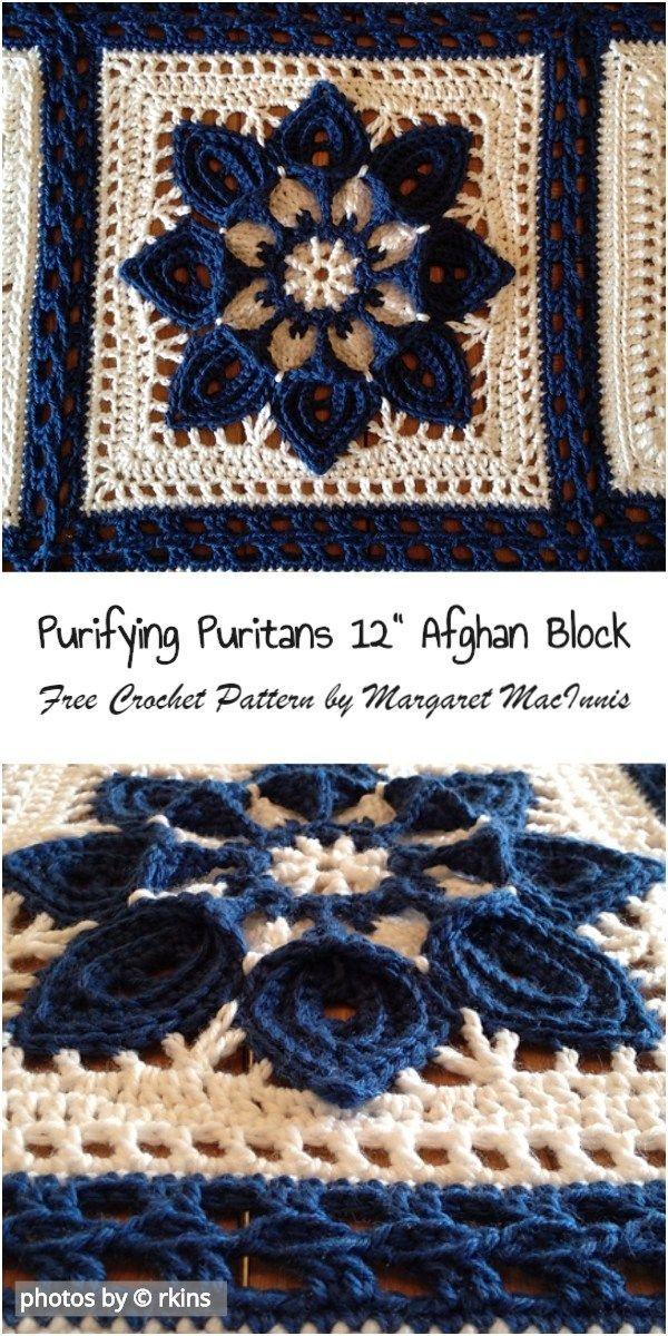 Purifying Puritans 12″ Afghan Block Crochet Pattern Idea #crochet #afghanblock