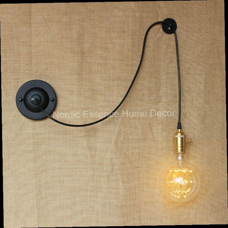 46.99$  Buy here - http://alif30.worldwells.pw/go.php?t=32696257108 - American industrial-style country creative personality DIY rope climbing artistic freedom control simple wire free Wall sconce 46.99$