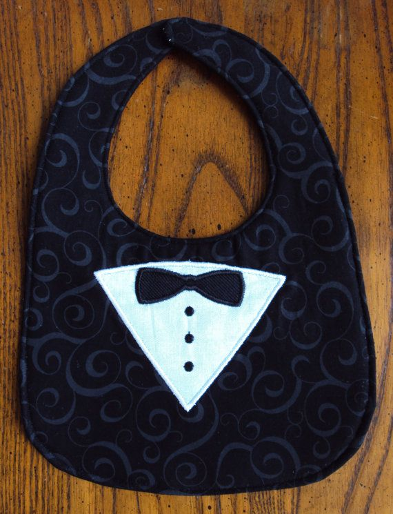 Tuxedo Baby Bib Black Cotton Embroidered Applique by ArrighiBaby,