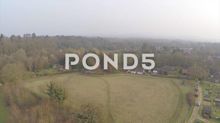 2.7K Aerial Shot Village Countryside Farm Field Woodland Hills Drone - Stock Footage | by RyanJonesFilms