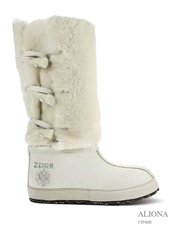 ZDAR Aliona  100% wool felt, shearling, calf leather, 'cushion comfort' insole covered with calf leather, sole material: rubber, hemp.