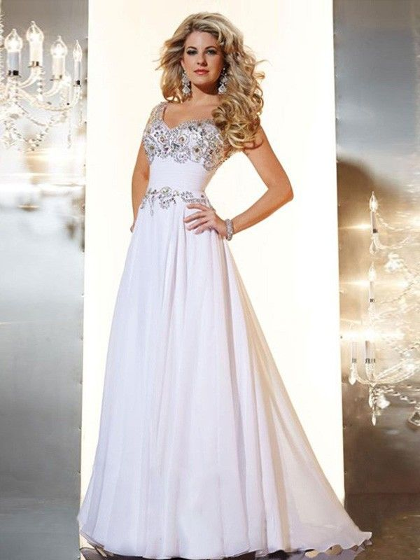 A-Line/Princess V-neck Beading Sleeveless Sweep/Brush Train Chiffon Dresses