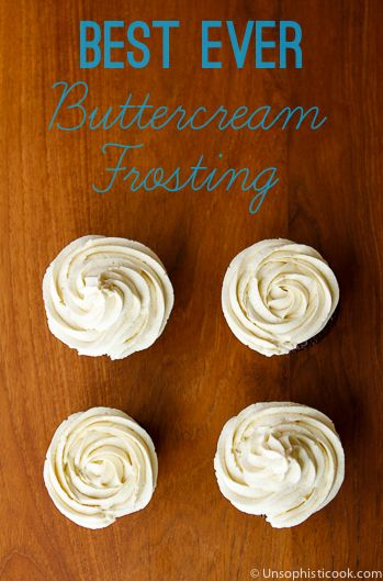 Beat 1 c. softened butter for about 3 minutes. Add 4 c. sifted confectioner's sugar and stir on low until incorporated. Add 1 T. vanilla extract and 3 T. heavy cream. Beat on medium-high for 3 minutes. If thinner frosting is desired, add additional cream 1 T. at a time until desired consistency is reached.