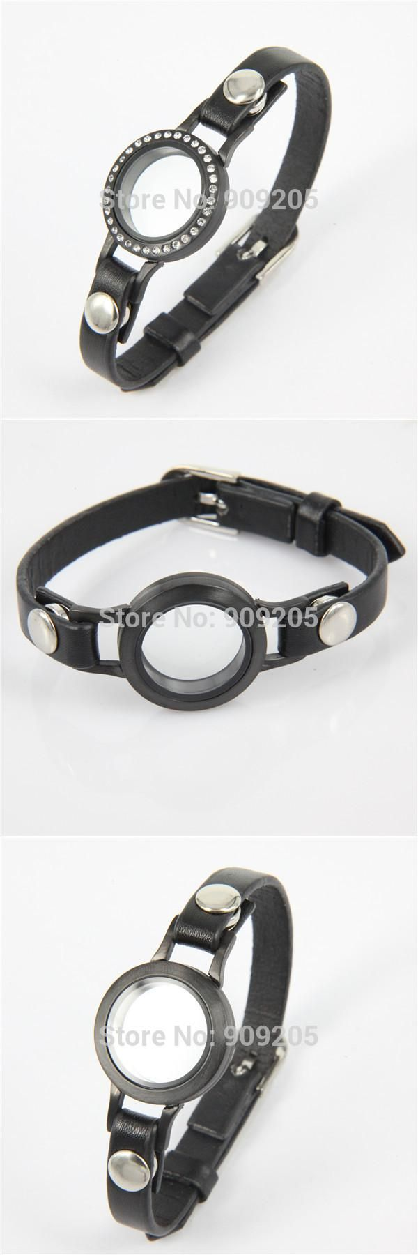 Hot Selling High Quality Black Floating Locket Bracelet for Men Women  1pcs/lot  FF195