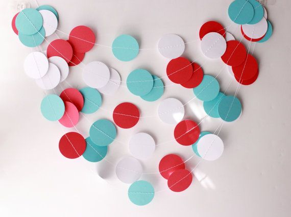 Wedding Garland Aqua Blue Red White Paper by MailboxHappiness, $10.00