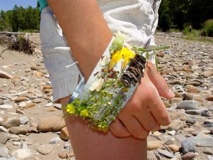 Duct tape nature bracelets. Sticky side out and attach things you find on your nature hike