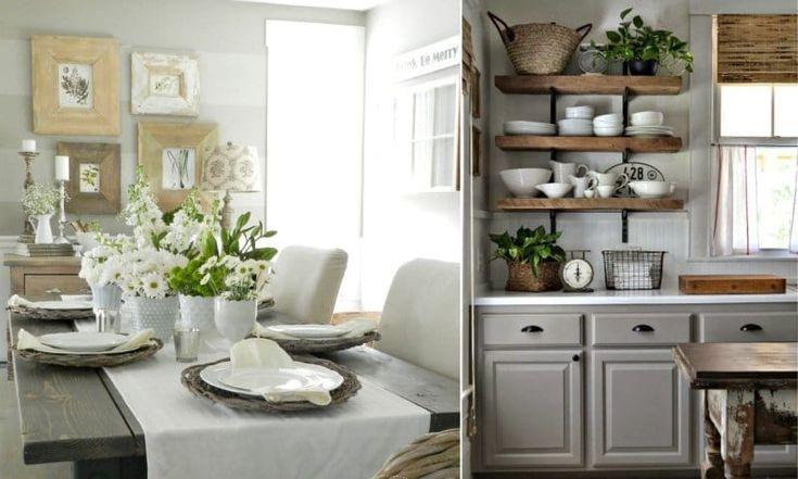 Серые кухни в стиле кантри
