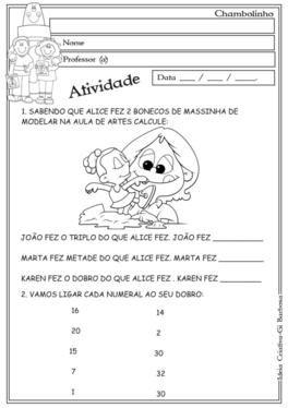Atividade Dobro E Triplo 2º E 3º Ano Matemática Education E Word