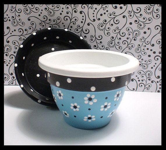 Hey, I found this really awesome Etsy listing at https://www.etsy.com/listing/206002862/turquoise-hand-painted-pot-45-inch