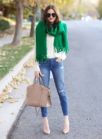 A colour pop added through a scarf is a great way to style your look differently. More layers could be added with a jacket or jumper and coat with boots for colder weather. Green is a great transitional colour for Autumn and Spring. Photo credit Sydne Style
