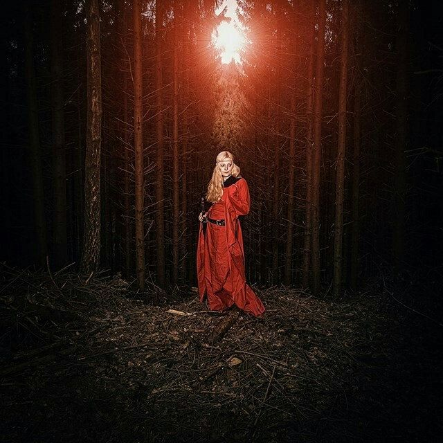 Female warrior dressed in my red priestess dress.  Love the look of this. Model: miss REdreaming  Pic: adk productions