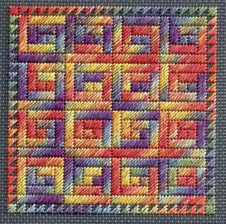log cabin needlepoint quilt block using Watercolours from Caron, designed by Peg Dunayer