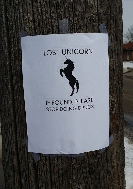 Funny images of the day (65 pics) Lost Unicorn, If Found Please Stop Doing Drugs