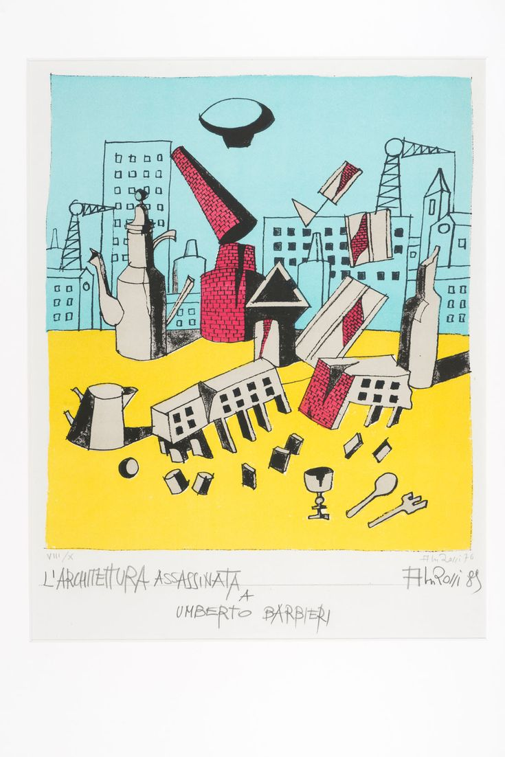 Aldo Rossi, L'Architettura assassinata 1976, lithography, collection Bonnefantenmuseum © Eredi Aldo Rossi