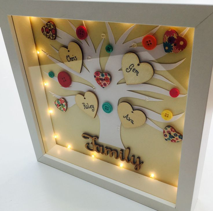 Personalised Family Tree Frame with Lights by RIVADesignsGifts on Etsy https://www.etsy.com/uk/listing/525533406/personalised-family-tree-frame-with