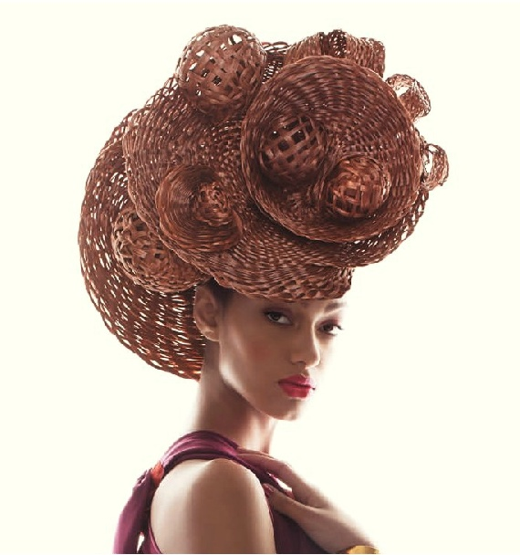 KAGOSHI  ka*go*shee (noun) Japanese (Master-Weaver).    Inspired by the incredible creations of renowned hat designer, Philip Treacy, hair designer and Aquage artist, Chris Vandehey spent over a year designing, weaving and refining, his fiber-art sculptures.