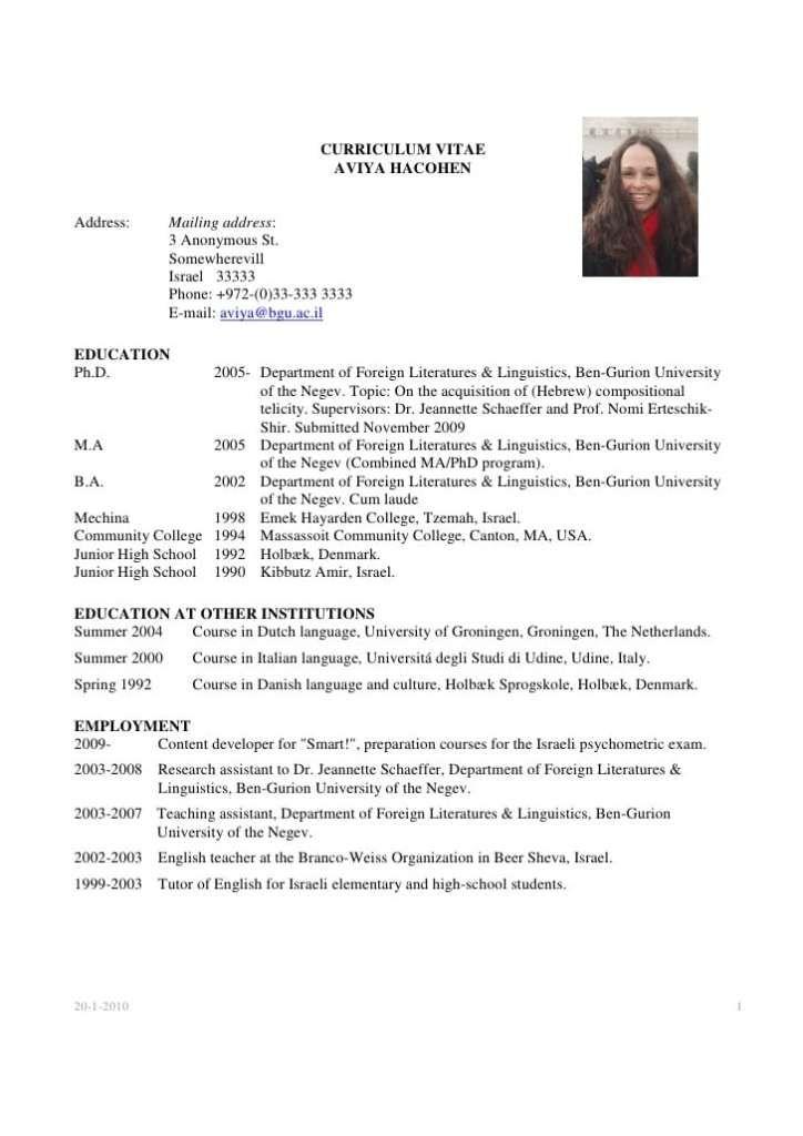 Academic CV Templates Word 2  | Templates | Academic cv