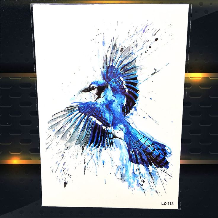 25 Style Blue Jay Birds Temporary Tattoo Stickers Women Men Water Color Tattoo Decal Watercolour Fake Flash Tattoo Body Art  #Affiliate