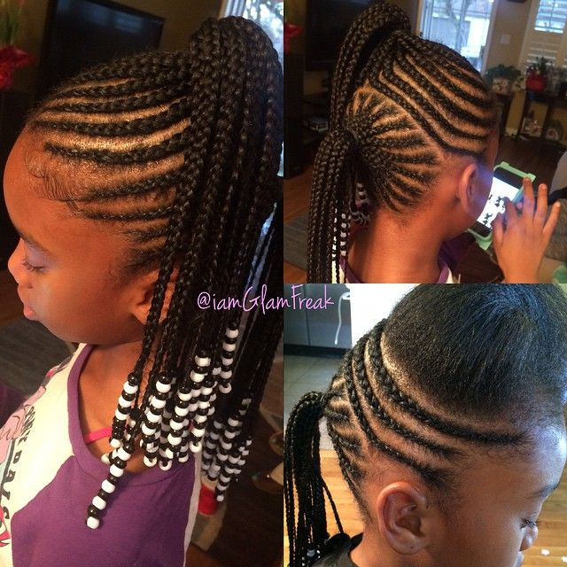 """Braids & Beads!!! The ultimate """"Baby Glam Package"""" saving mommies time & hassle in the mornings one kid at a time  I love using organic natural oils & moisturizer for healthy scalps & to help promote hair growth. Never any knots to greatly reduce tension on their fragile little edges!  P.S """"just because you braid extra tight don't mean you tight"""" im just sayin  LOL #GlamFreak #GlamFreakOnHair #GlamFreakHairCo #BabyGlamBraids #BraidsAndBeads #LAHairStylist"""