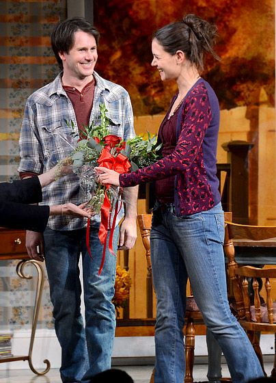 Actors Josh Hamilton And Katie Holmes Take Their Curtain Call During The  Dead Accounts Broadway Opening