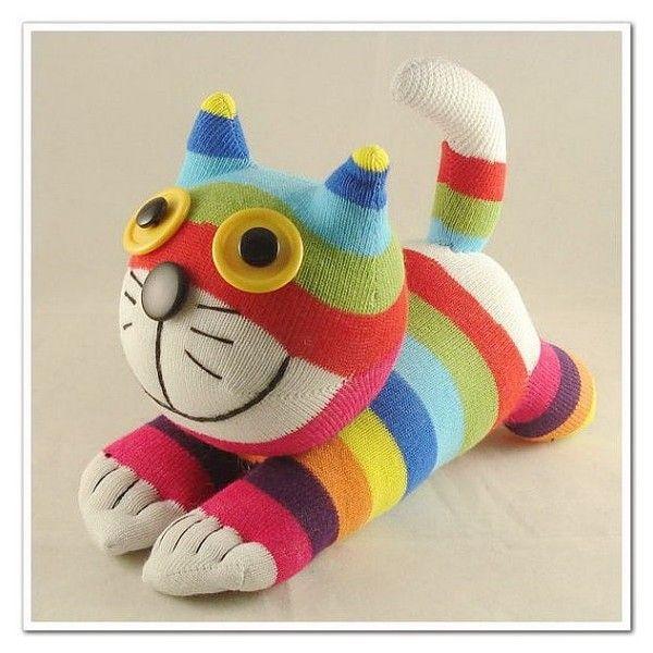Peluche gato de calcetines reciclado pinterest gato - Hacer munecos con calcetines ...