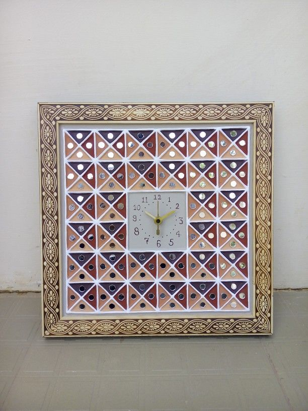 "Art Mud & mirror work 12""*12"" clock"
