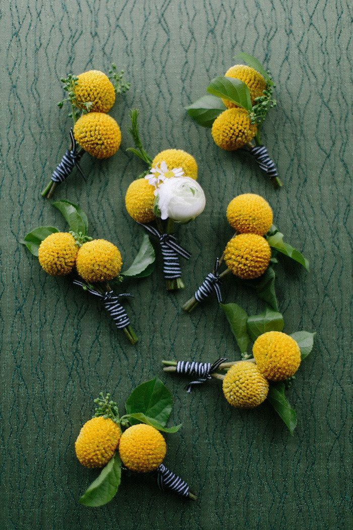 Billy ball boutonnieres for a preppy wedding