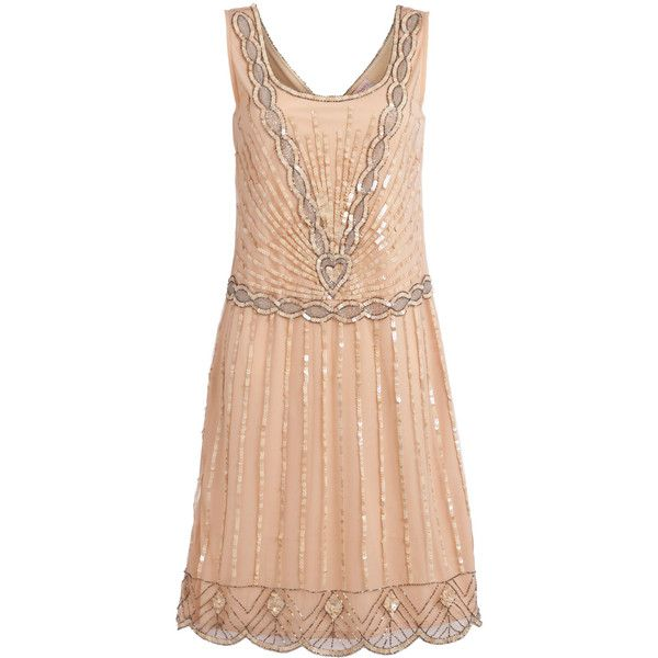 UK20 US16 Nude Blush Vintage inspired 1920s vibe Flapper Great Gatsby... (5.535 RUB) ❤ liked on Polyvore featuring dresses, vintage, vintage style cocktail dresses, vintage cocktail dresses, vintage sequin dress, red cocktail dress and sequin dresses