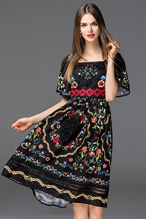 683bd3f7c39e New Fashion Runway Summer Dress Women s Hollow out Floral Print Casual  White Knee-length Dress - Black