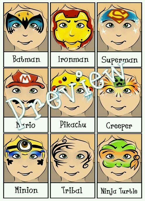 Superhero Batman Ironman Superman Mario Pikachu Pokemon Creeper Minion Tribal Teenage Mutant Ninja Turtle