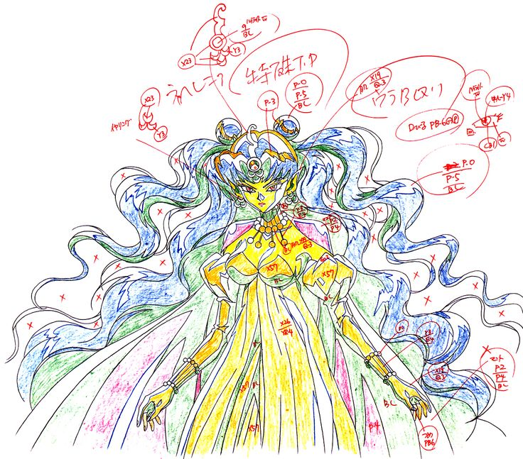 "Animation sketch of villain Queen Neherenia from ""Sailor Moon"" series by manga artist Naoko Takeuchi."
