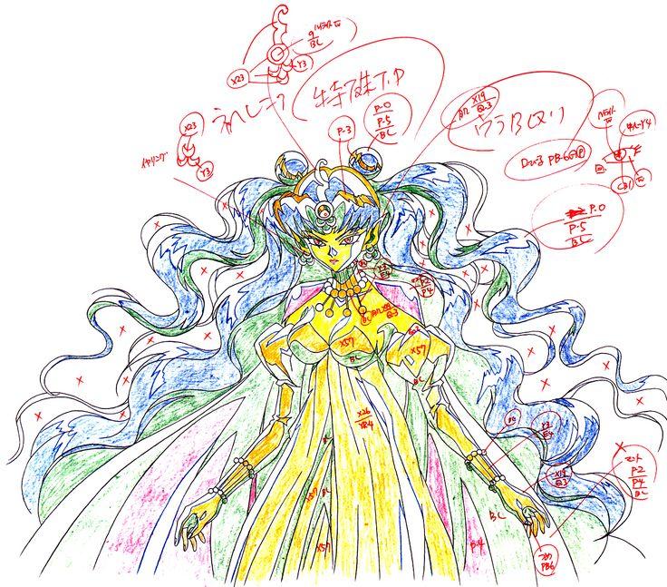 "Animation sketch of villain Queen Neherenia from ""Sailor Moon"" series by manga artist Naoko Takeuchi."