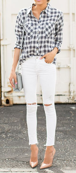 Don't shy away from white denim for fall! Pair a distressed pair with on-trend gingham and heels for an elevated casual look.