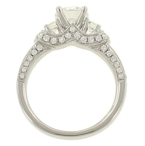 Scott Kay Palladium Engraved Three Sided Diamond Wedding: Scott Kay Vintage Rings