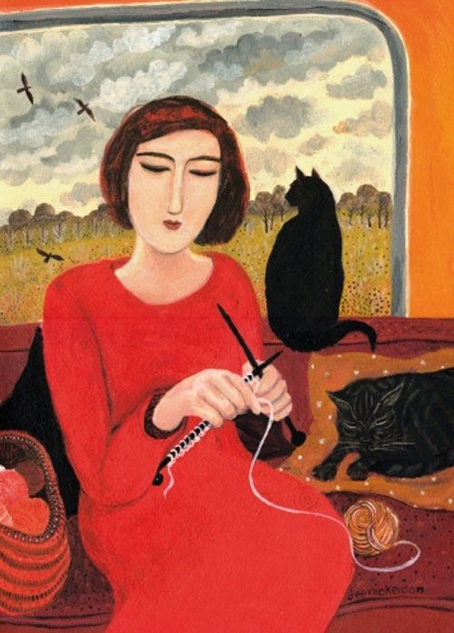 Black cat and knitting.  With cat | Dee Nickerson, 'Casting