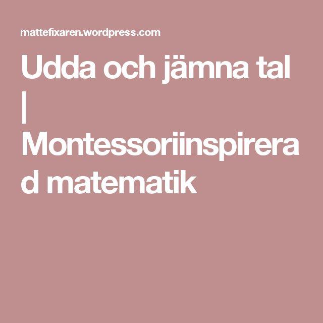 Udda och jämna tal | Montessoriinspirerad matematik