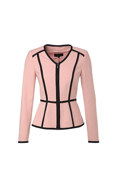 Elegant blazer-style jacket from ESCADA. The fashionable V-neckline and knit borders in a contrasting color give this piece a unique twist. The fitted design and light shoulder padding accentuate the classic, feminine silhouette.#MODELFIT: The model is wearing a size 34 with a height of 70.1 '' and a waist circumference of 24.4 ''.#Knit borders in a contrasting color|Fitted cut|V-neckline|Full-length, concealed in-seam zipper placket|Light shoulder padding