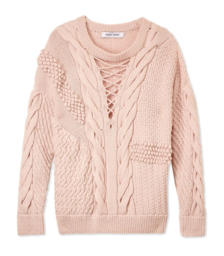 Prabal Gurung Textured Cable Knit Sweater